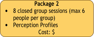 Package 2 •	8 closed group sessions (max 6 people per group) •	Perception Profiles  Cost: $