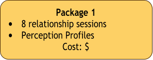 Package 1  •	8 relationship sessions •	Perception Profiles  Cost: $